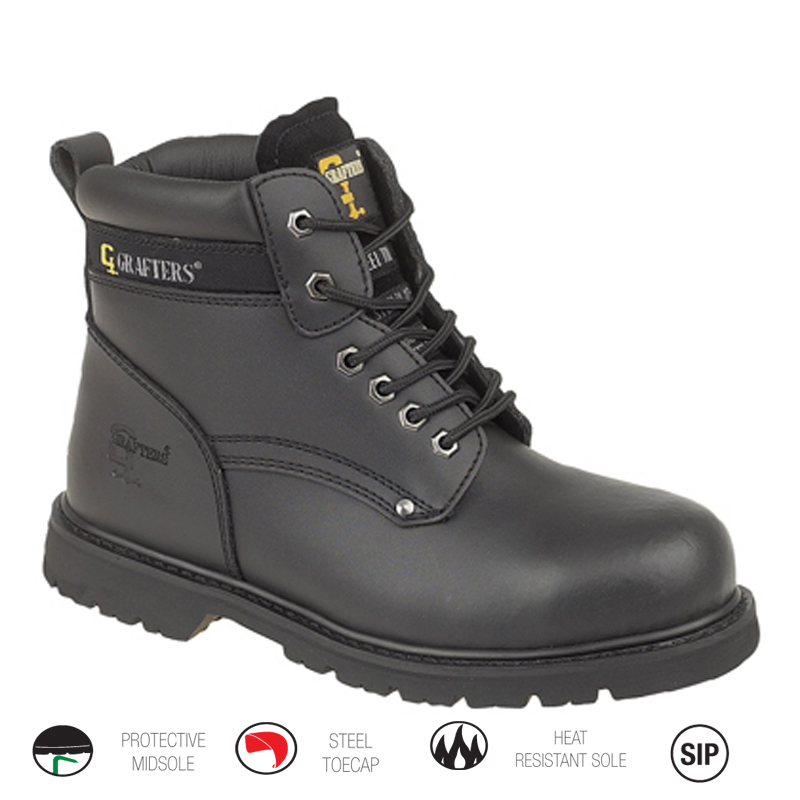 Black Welted Safety Boot
