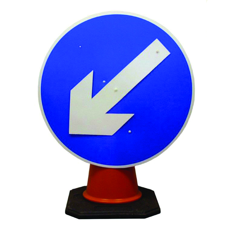 Rotating Directional arrow Cone Sign.
