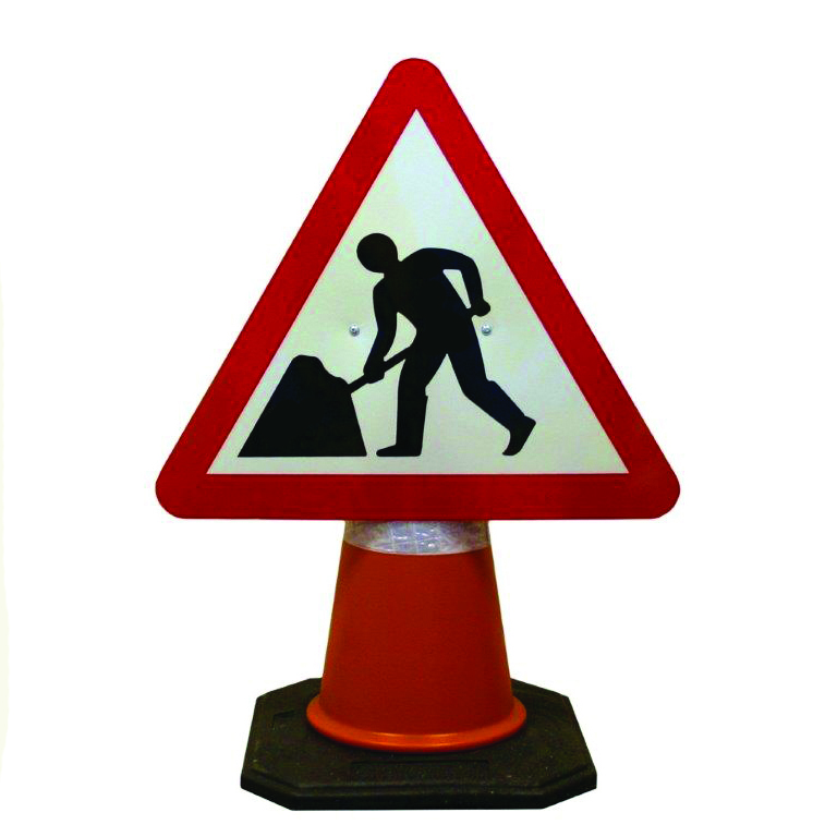 Roadworks Ahead Cone Sign.