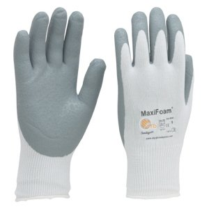 MaxiFoam grey palm coated white liner knitwrist gloves, 9-L