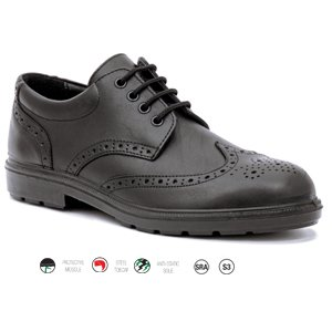 Leather Lined Brogue Shoe  Black  Size  8