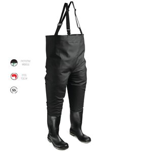 Black Safety Chest Wader size 10