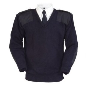 Classic V-Neck Security Jumper  Navy  XL