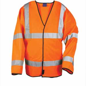 High-Vis Long Sleeve Waistcoat  Orange  XXL
