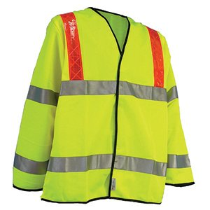 High-Vis Long Sleeved Waistcoat with Red Braces  Yellow  XL