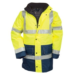 Premium High-VisibilityWaterproof Coat Yellow-Navy XXL