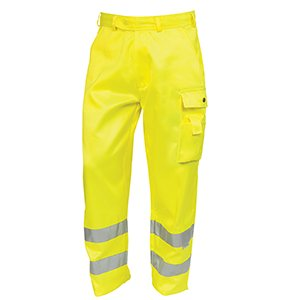 High-Visibility Polycotton Cargo Trousers Yellow 48R
