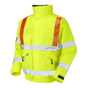 High-Vis Waterproof Jacket  Yellow with Red Bands  XXL