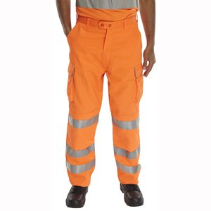High-Vis Polycotton Rail Trousers  Orange  44R