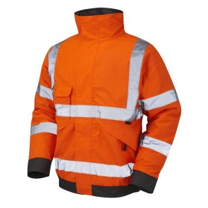 High-Vis Bomber Jacket, Orange with grey trim, RIS-3279, XXL