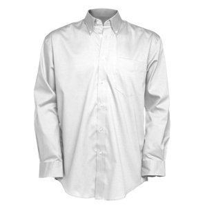 Deluxe Long Sleeve Oxford Shirt  White  M-15.5