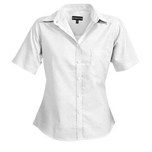Deluxe Ladies Short Sleeve Oxford Shirt White XS-8