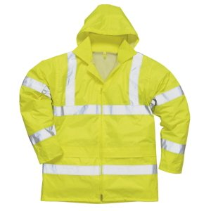 High-Vis Rain Jacket, Yellow with reflective strips, XL