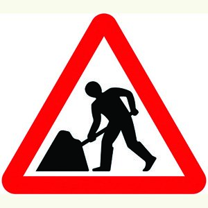 Roadworks Ahead Sign Plate -Men at Work (750mm Triangle)