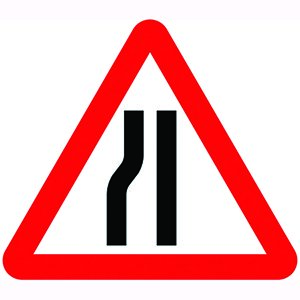 Road Narrows Left Sign Plate (750mm Triangle)