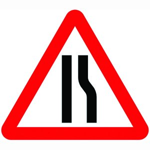 Road Narrows Right Sign Plate (750mm Triangle)