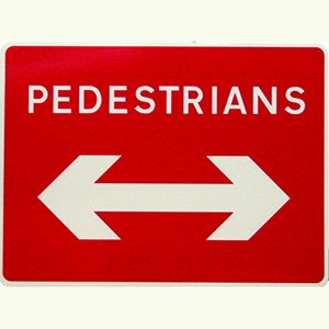Pedestrians Double Arrow Sign Plate.