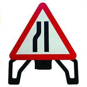 Road Narrows Left Alpha Plastic Sign (750mm Triangle)