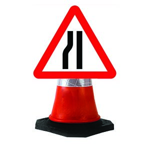Road Narrows Left Cone Sign.