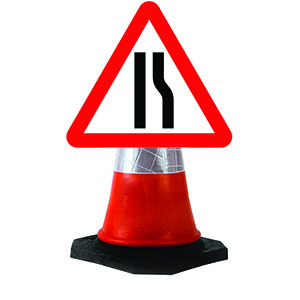 Road Narrows Right Cone Sign.