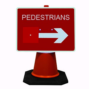 Pedestrians Double Arrow Cone Sign.