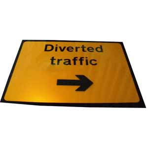 Diverted Traffic c/w spinning arrow Sign Plate 1050x750mm