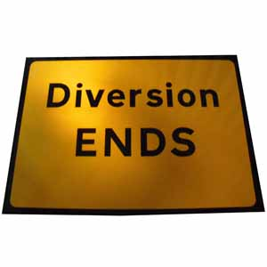 Diversion Ends Sign Plate, Zintec 1050x750mm